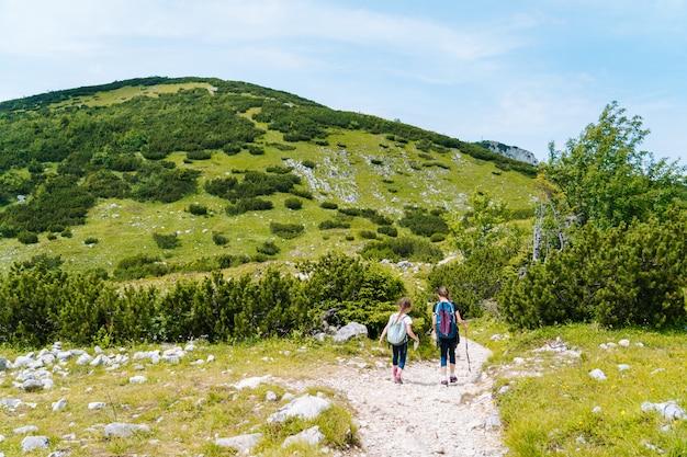 Crianças caminhando em um lindo dia de verão nas montanhas dos alpes, na áustria, descansando na rocha e admirando a vista incrível dos picos das montanhas. lazer ativo de férias em família com crianças. diversão ao ar livre e atividade saudável.