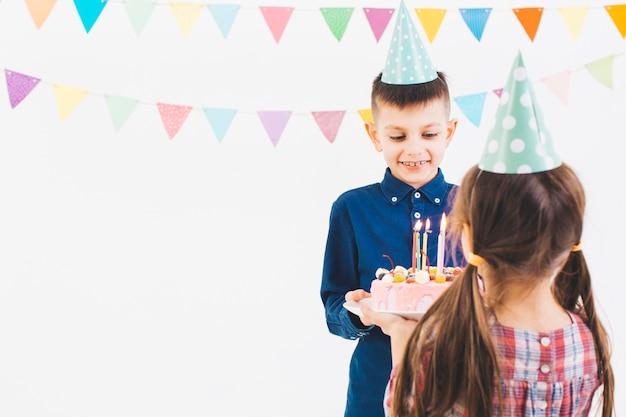Crianças, celebrando, aniversário