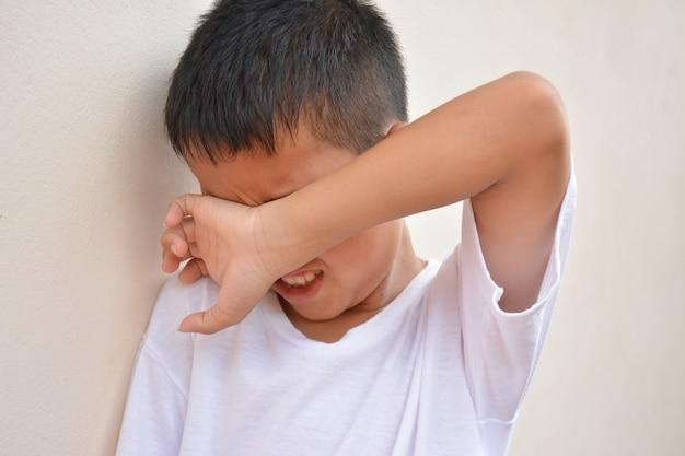 Crianças choram de frente para a parede