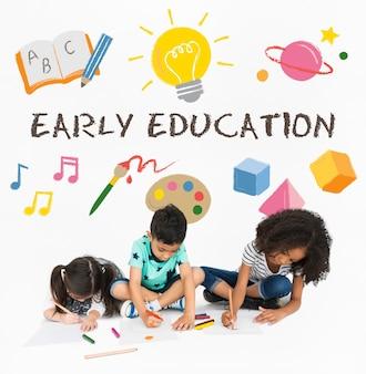 Crianças crianças ícones de educação infantil
