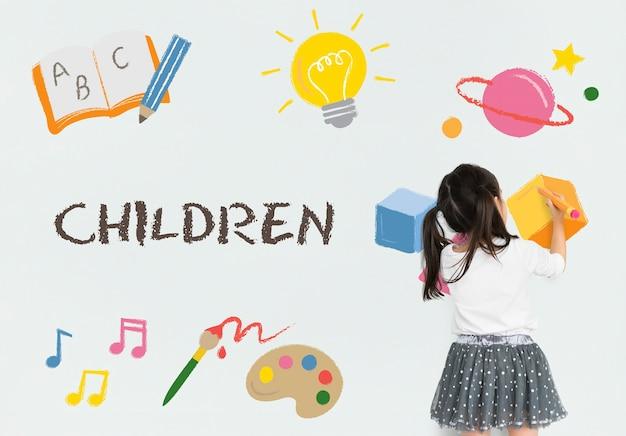 Crianças crianças ícones de educação infantil Foto gratuita