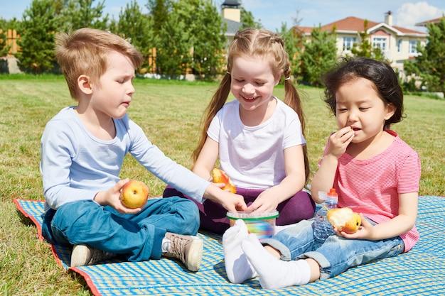 Crianças desfrutando de piquenique no gramado