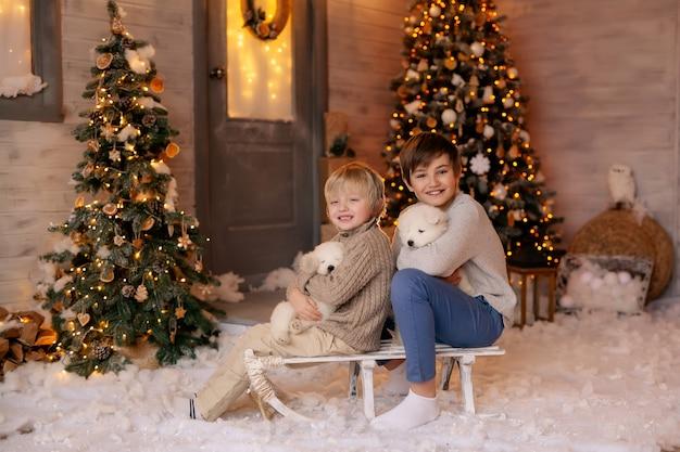 Crianças em um trenó em uma varanda de inverno para o ano novo