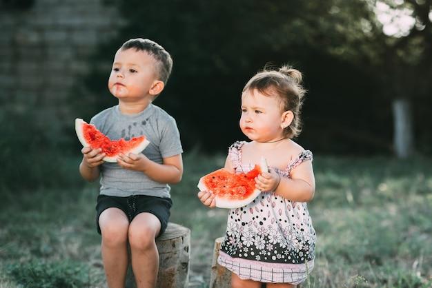 Crianças engraçadas comem melancia. irmão e irmã ao ar livre, sentados nos tocos