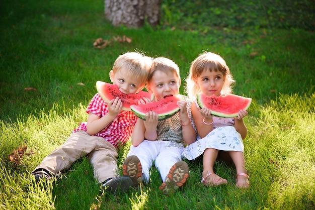 Crianças engraçadas comendo melancia ao ar livre no parque de verão. criança, bebê, comida saudável