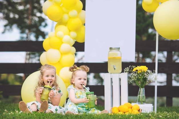Crianças lindas duas meninas lindas e felizes na grama verde com balões e limonada
