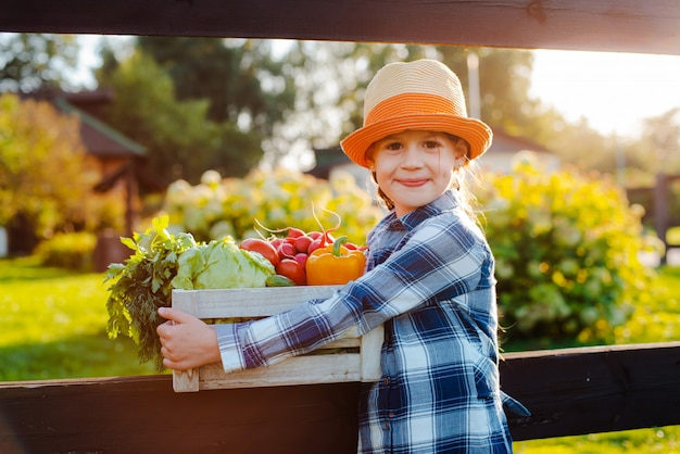 Crianças menina segurando uma cesta de legumes orgânicos frescos