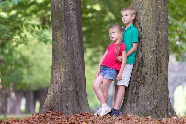 Crianças menino e menina em pé perto de tronco de árvore grande no parque de verão.