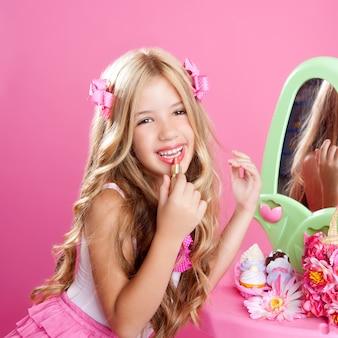Crianças moda boneca pequena menina batom maquiagem rosa vaidade