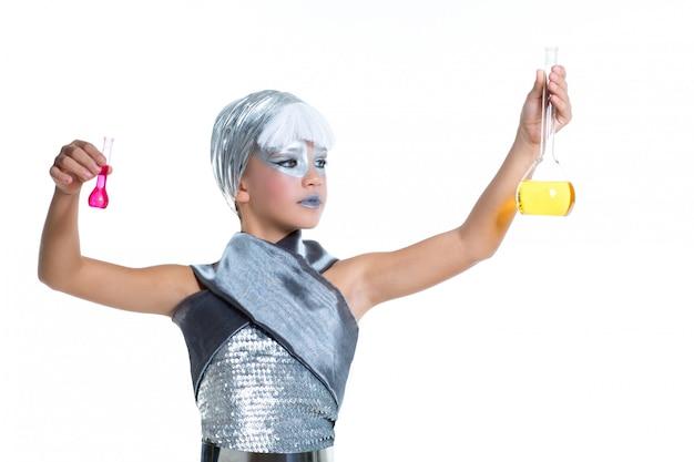 Crianças moda futurista crianças menina experimento químico