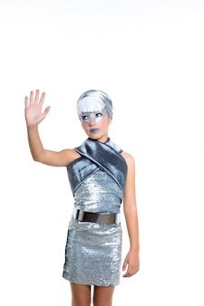 Crianças moda futurista crianças menina prata maquiagem