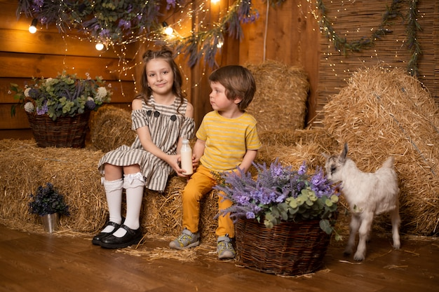 Crianças na fazenda no celeiro brincando com cabrito pequeno