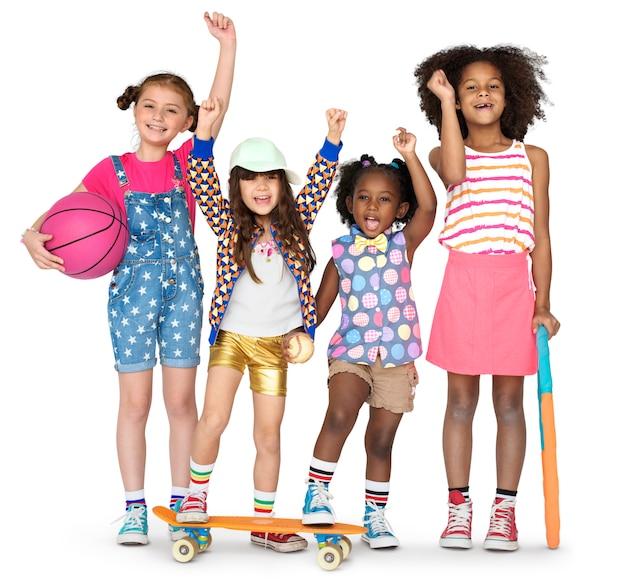Crianças, namoradas, sorrindo, felicidade, amizade, união, estúdio, retrato