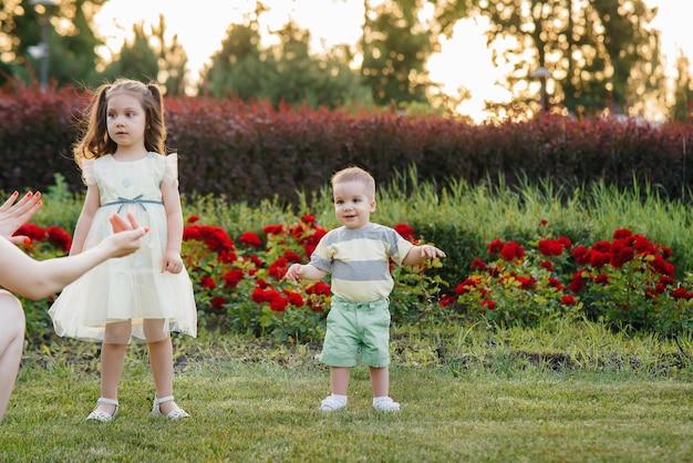Crianças pequenas estão passeando no parque com seus pais.