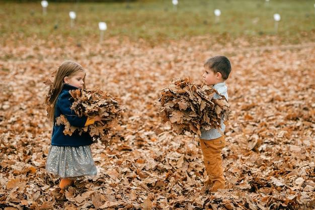 Crianças segurando folhas de outono