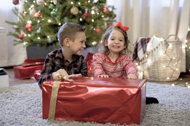Crianças segurando um grande presente de natal em uma casa com a árvore de natal