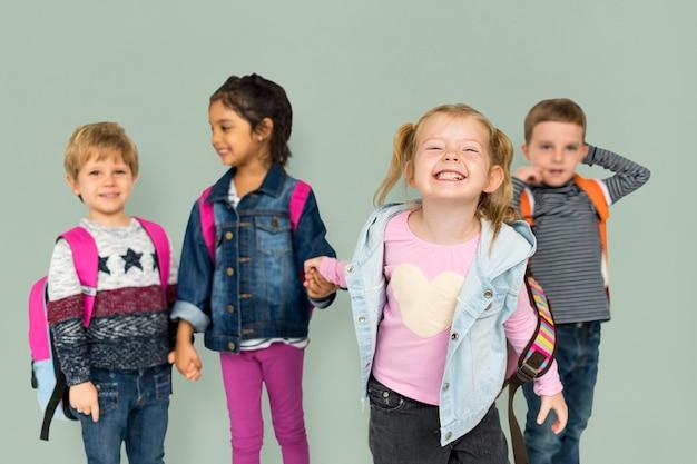 Crianças, sorrindo, felicidade, amizade, união