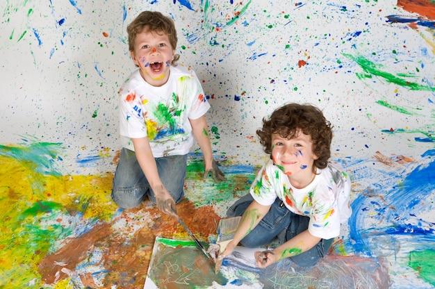 Crianças, tocando, com, quadro