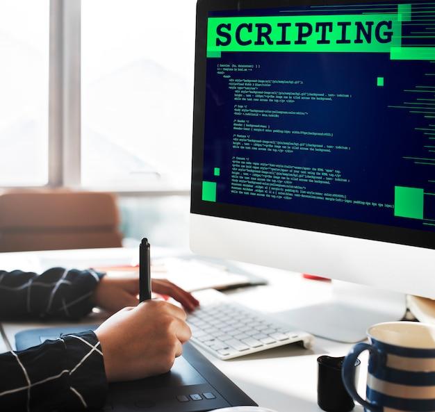 Criando scripts de linguagem de computador, programação, código, desenvolvedor, conceito de tecnologia