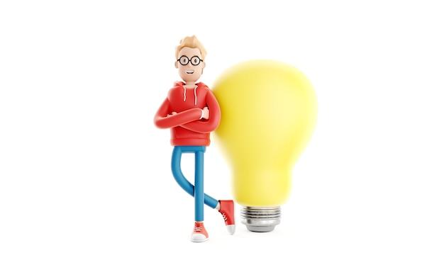 Criando um conceito de ideia, designer ou codificador de personagens, menino com um laptop