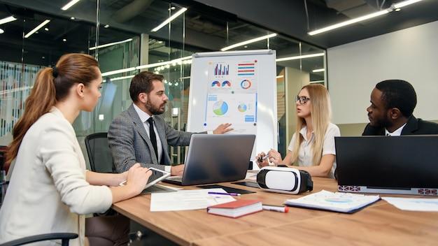 Criando uma estratégia de desenvolvimento futuro para jovens empresas progressistas. agradáveis empresários altamente qualificados que discutem as oportunidades para obter melhores resultados da empresa.