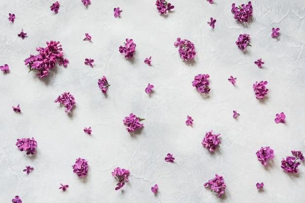 Criativa ainda vida de fundo roxo flores lilás