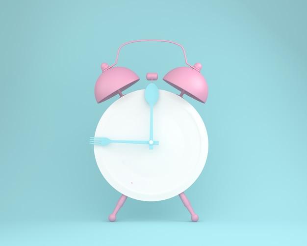 Criativa de colher e garfo na placa redonda em forma de despertador rosa
