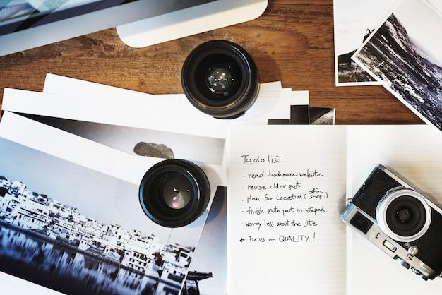 Criatividade da fotografia do estúdio do projeto para fazer o conceito da lista