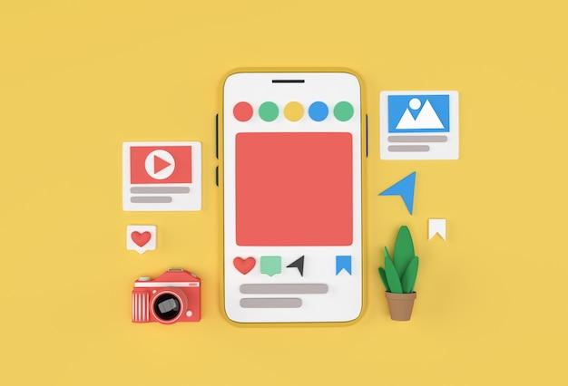 Criativo 3d render mobile mockup banner de desenvolvimento de web de mídia social, material de marketing, apresentação, publicidade online.