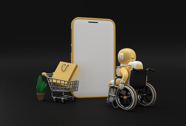 Criativo 3d render mobile online shopping mockup com astronauta em cadeira de rodas web banner, material de marketing, apresentação, publicidade online.