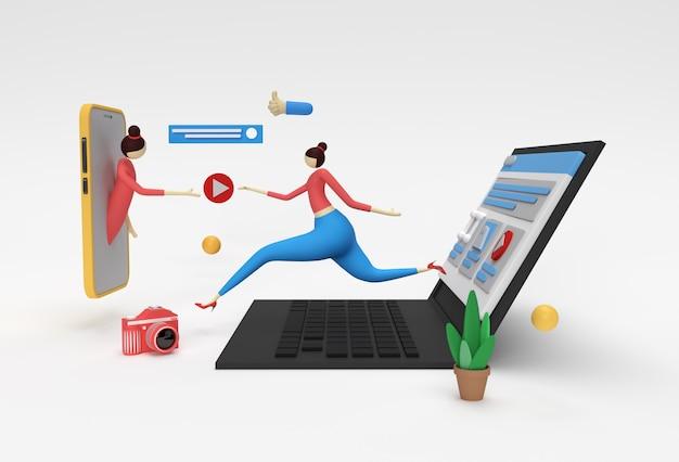Criativo 3d render web development deal banner, material de marketing, apresentação, publicidade online.