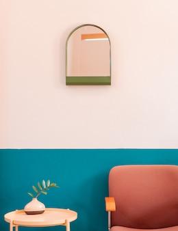 Criativo colorido retro sala de estar cornor com mesa de madeira