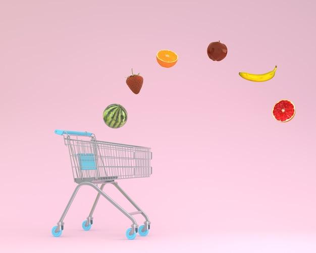 Criativo de carrinho de compras com frutas flutuantes