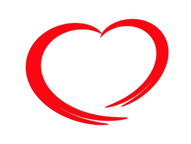 Criativo de coração vermelho em um fundo branco.
