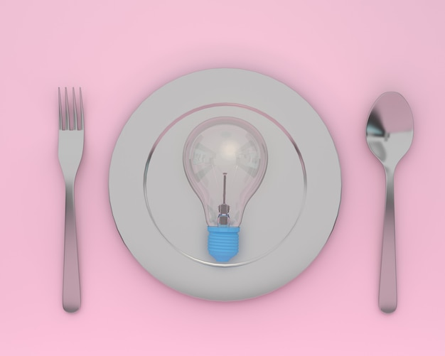 Criativo de lâmpadas brilhando na placa com colheres e garfos na cor rosa. conc mínimo