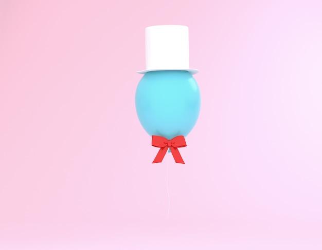 Criativo feito de balão azul com chapéu e fita vermelha no fundo rosa pastel.