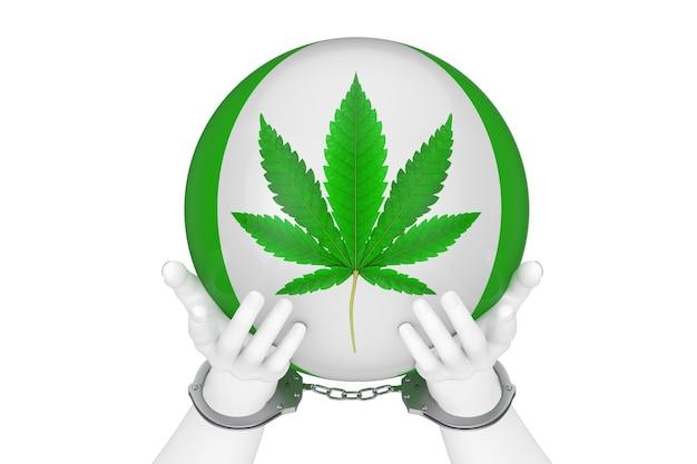 Crime de drogas e conceito de lei. mãos abstratas brancas com algemas e bola com sinal de folha de cânhamo ou maconha medicinal em um fundo branco. renderização 3d