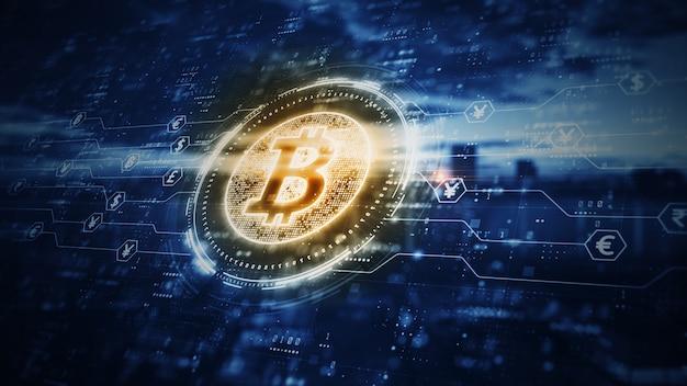 Criptografia digital de criptomoeda bitcoin blockchain