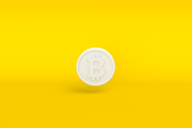 Criptomoeda bitcoin branco sobre fundo amarelo. ilustração 3d