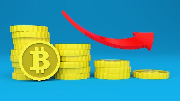 Criptomoeda bitcoin diminui seu preço imagem tridimensional sobre o preço da moeda virtual