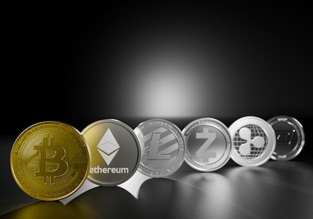 Criptomoeda bitcoin renderização 3d para pagamento da economia mundial. curta para encontrar dinheiro digital financeiro. grupo de bitcoin econômico, ethereum, litecoin, zcash, ondulação, traço para seu investimento.