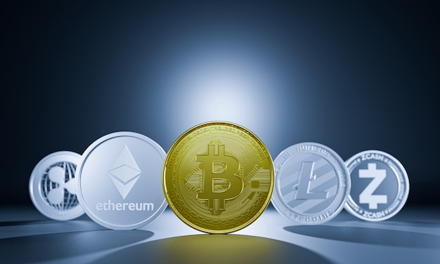 Criptomoeda bitcoin renderização em 3d para pagamento da economia mundial. curta para encontrar dinheiro digital financeiro. grupo de bitcoin de economia, ethereum, litecoin, zcash, ondulação para seu investimento.