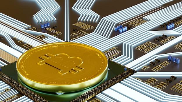 Criptomoeda bitcoin renderização em 3d para pagamento da economia mundial. curta para encontrar dinheiro digital financeiro.