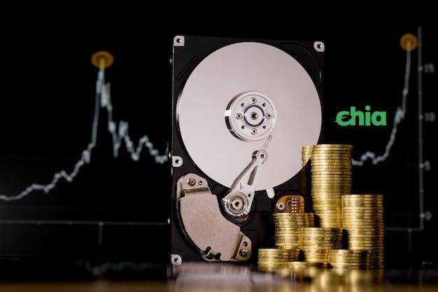 Criptomoeda chia e servidor de disco rígido para mineração