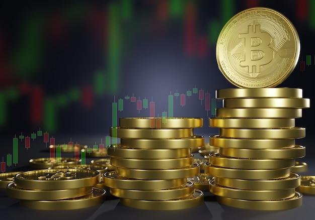 Criptomoeda crescente com renderização 3d de bitcoin. banco digital do mercado monetário de blackchain de investimento para troca de dinheiro e moeda digital de comércio.
