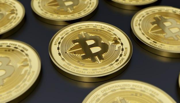 Criptomoeda digital bitcoin 3d render ilustração de fundo