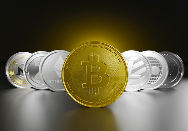 Criptomoedas definidas pelo líder de bitcoin dourado de ativos de moeda digital de moedas de símbolo, bitcoin, ethereum, litecoin, zcash, ondulação, monero para troca de economia eletrônica de renderização de investment.3d.