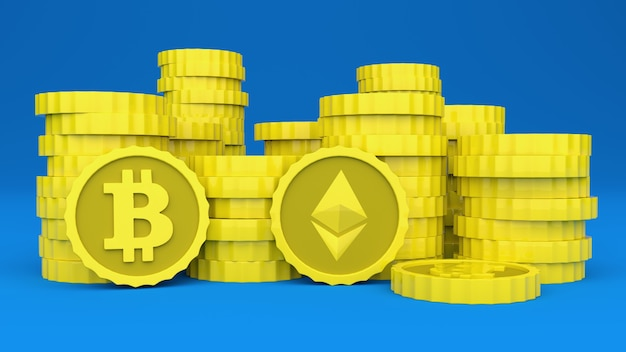 Criptomoedas empilhadas em uma superfície azul você pode ver os logotipos do bitcoin e da ilustração 3d ethereum
