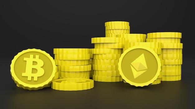 Criptomoedas empilhadas em uma superfície preta com reflexo você pode ver os logotipos de bitcoin e ethereum ilustração 3d