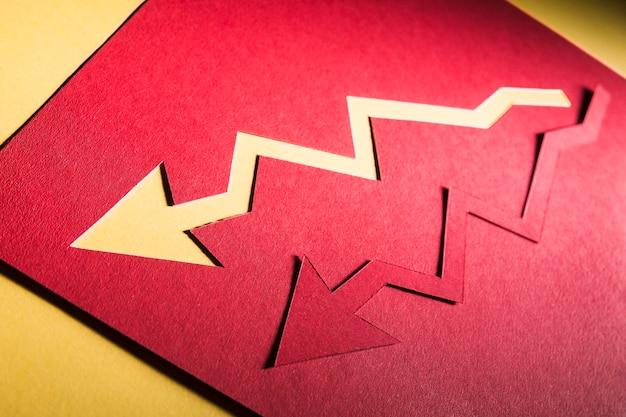 Cris econômico indicado por setas